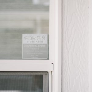 Emergency Alert Sticker on outdoor window for child with autism