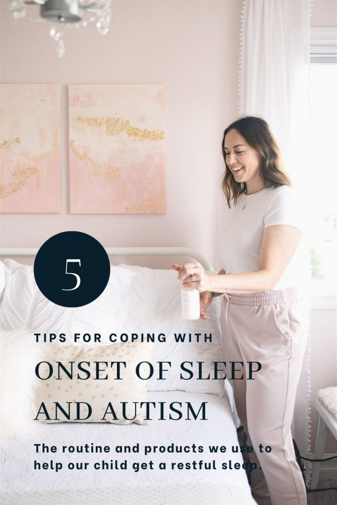 woman sprays bed with essential oils to help manage a sleep disorder